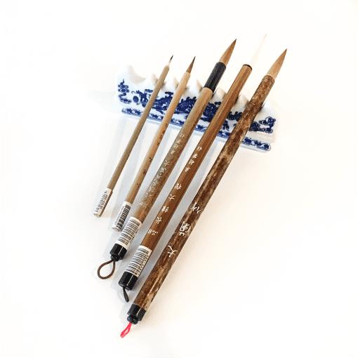 Ceramic Brush Rest with Brushes