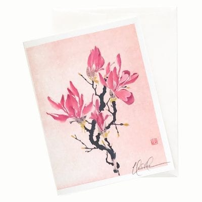 16-16 China in Pink Magnolia Card © Nan Rae