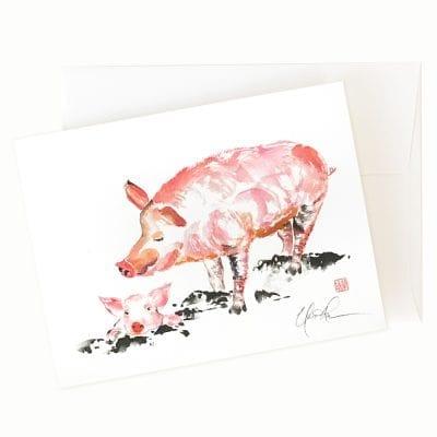 22-45 Piggie Stay Home Card © Nan Rae