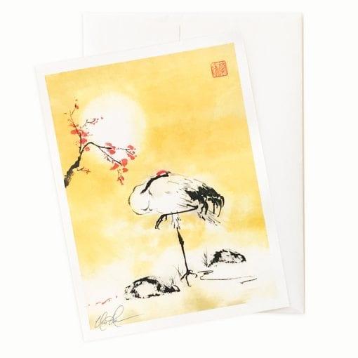 Cherry Blossom Crane Card by Nan Rae