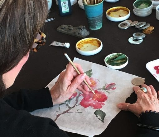 Painting the Camellia at the Nan Rae studio