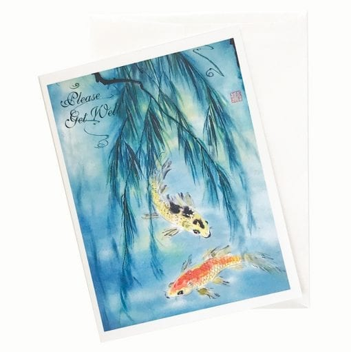 18-19Gw Golden Carp Get Well Card by Nan Rae
