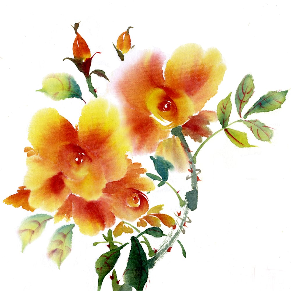 Floral Brush painting class lessons by Nan Rae