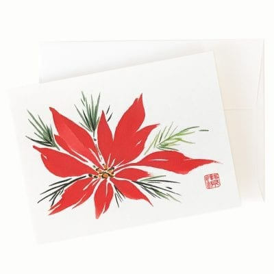 17-09 Christmas Poinsettia Card by Nan Rae