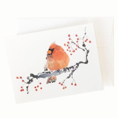 Winter Berries (Cardinal) Card by Nan Rae