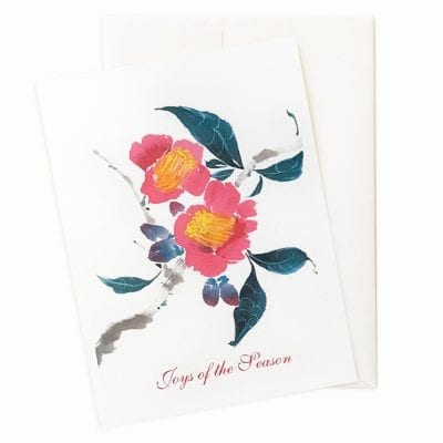 Camellia Semiserrata Holiday Card by Nan Rae