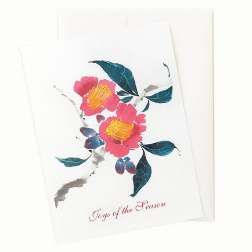 Camellia Semiserrata Holiday Card by Nan Rae