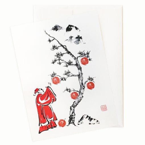 Santa Trims the Tree Holiday Card by Nan Rae