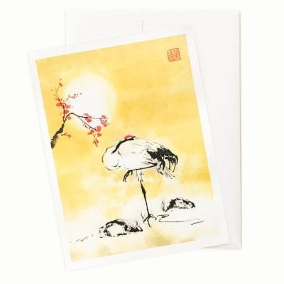 Cherry Blossom Crane Holiday Card by Nan Rae