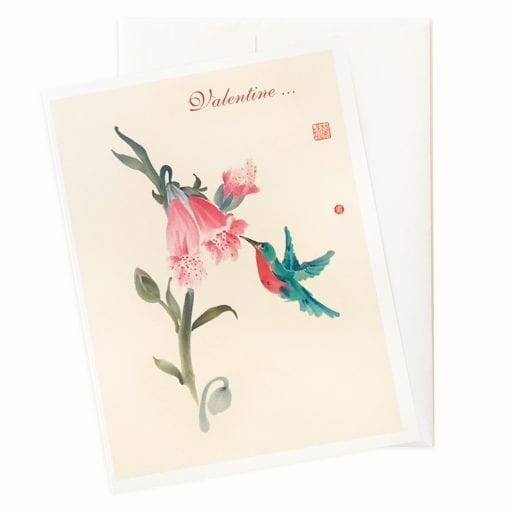 Foxglove Love Valentines Card by Nan Rae