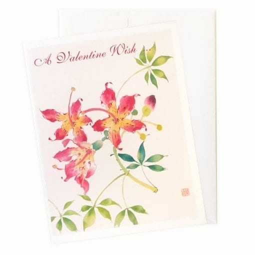 19-48V Floss Silk Flower Valentines Card by Nan Rae