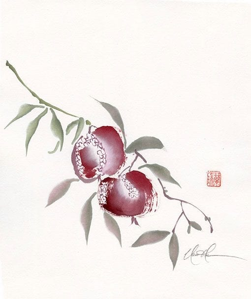 An Original Pomegranate painting by Nan Rae