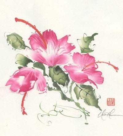 An Original Hibiscus painting by Nan Rae