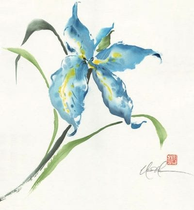 An Original Iris Brush painting by Nan Rae
