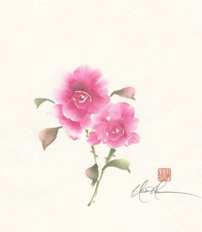 An Original Rose painting by Nan Rae