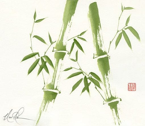 An Original Bamboo painting by Nan Rae on Mulberry paper