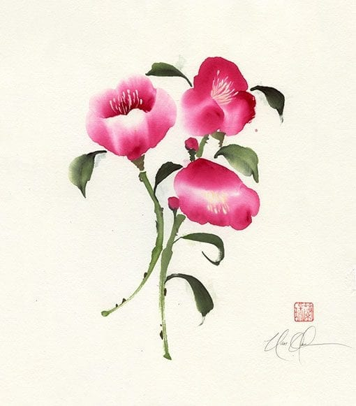 An Original Camellia Brush painting by Nan Rae