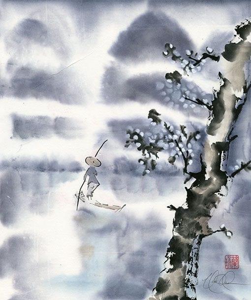 landscape brush painting