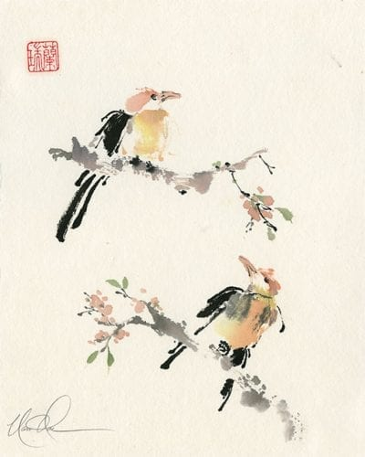 Birds on Branch Painting